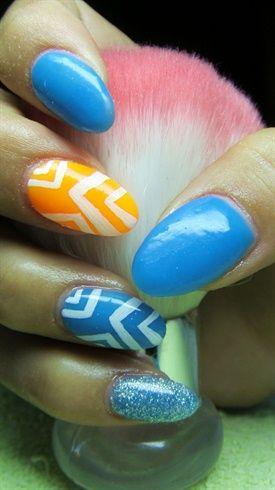 Blue and yellow nails by Valkira - Nail Art Gallery nailartgallery.nailsmag.com by Nails Magazine www.nailsmag.com #nailart