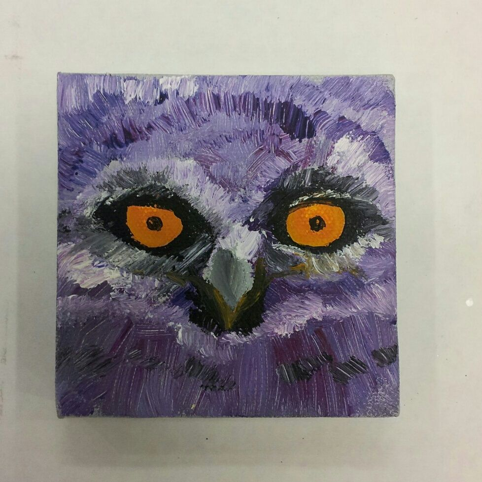 Acrylic painting - Purple owl - www.harrisartstudio.com