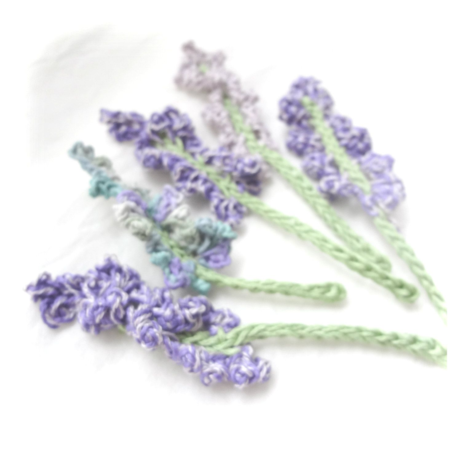 Set Of 6 Crochet Lavender Flowers Crochet Applique Small Crochet Lavender Cards Scrapbooks Appliques And Crochet Flowers Crochet Applique Crochet Bouquet