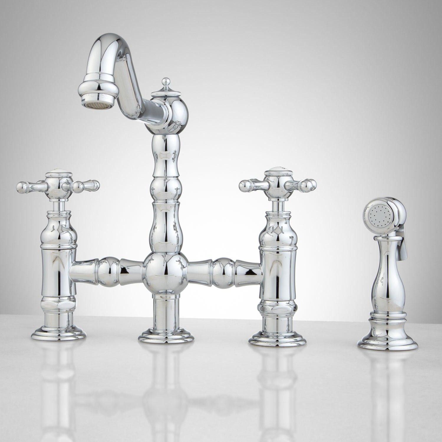 Bridge Faucets Kitchen Storage Sets For Delilah Deck Mount Faucet With Side Spray Cross Handles In