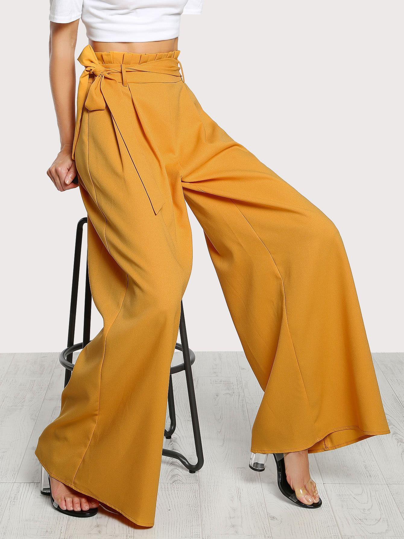 Women High Waist Paper Bag Bottom Palazzo Wide Leg Flared Ladies Belted Trousers