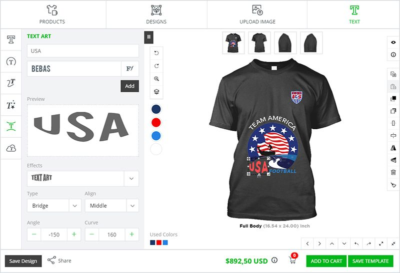 Advanced t shirt design software by inkXE T-Shirt Design Software