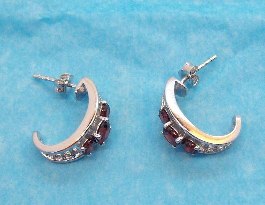 Genuine Garnets Hoop Shaped Shiny Rhodium Plated Pierced Earrings #HoopPierced