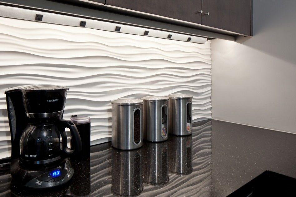 Interior Amazing Kitchen Decoration Ideas Using White Modular Art Wall Panels Backsplash Including Black Granite Counter Tops And Under Cabinet
