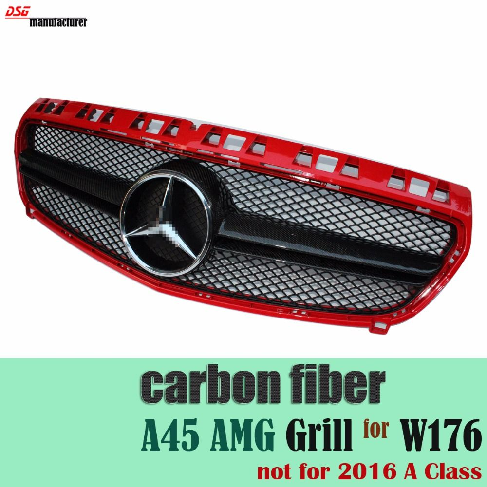 Mercedes a class replacement carbon fiber trimmed amg grill for benz w176 hatchback 2013 2014 2015