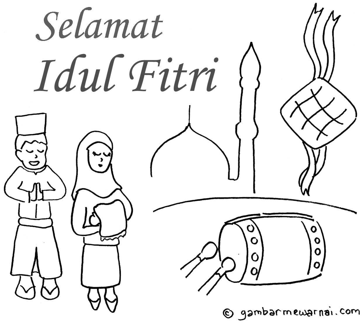 Contoh Gambar Mewarnai Gambar Idul Fitri