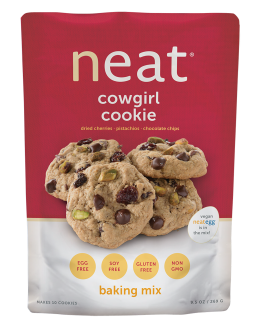 Neat Cowgirl Cookie Mix Pancakes Mix vegan cookies made with the neat egg. Gluten-free, soy-free, non-gmo and healthy as they are delicious!