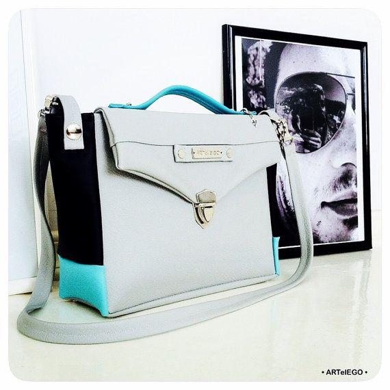 Grey Turquoise High Quality Faux Leather Bag Shoulder Medium Size Vegan