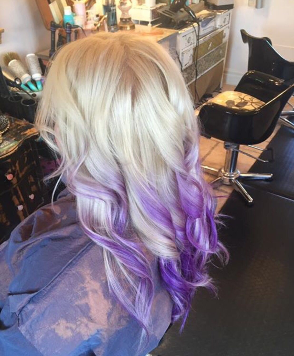 Platinum Blonde With Purple Ombre Hair By Laura Roberts Blonde