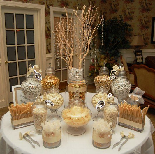 Perfect For A Holiday Party Instead Of Goody Bags Have A Candy Buffet 50th Wedding Anniversary Party Candy Buffet Tables Wedding Candy