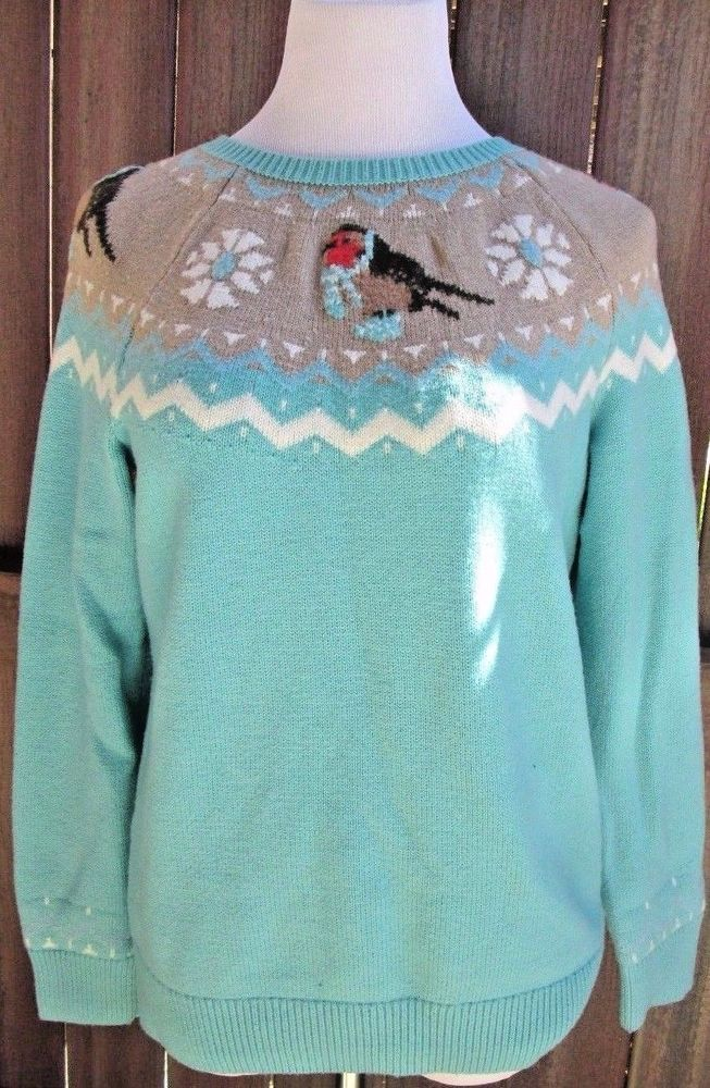 Talbots Sweater Fair Isle Snow Bird Finch Scarves Pullover ...
