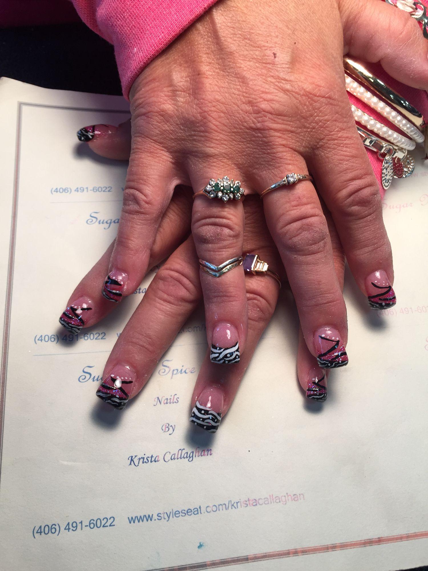 Acrylic nails - pink, black, white sparkles; zig zag nail art ...