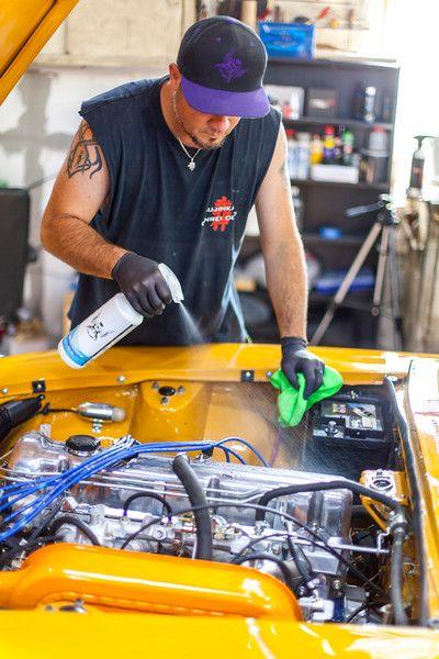 Engine Detailing Bahama Yellow Datsun 240z