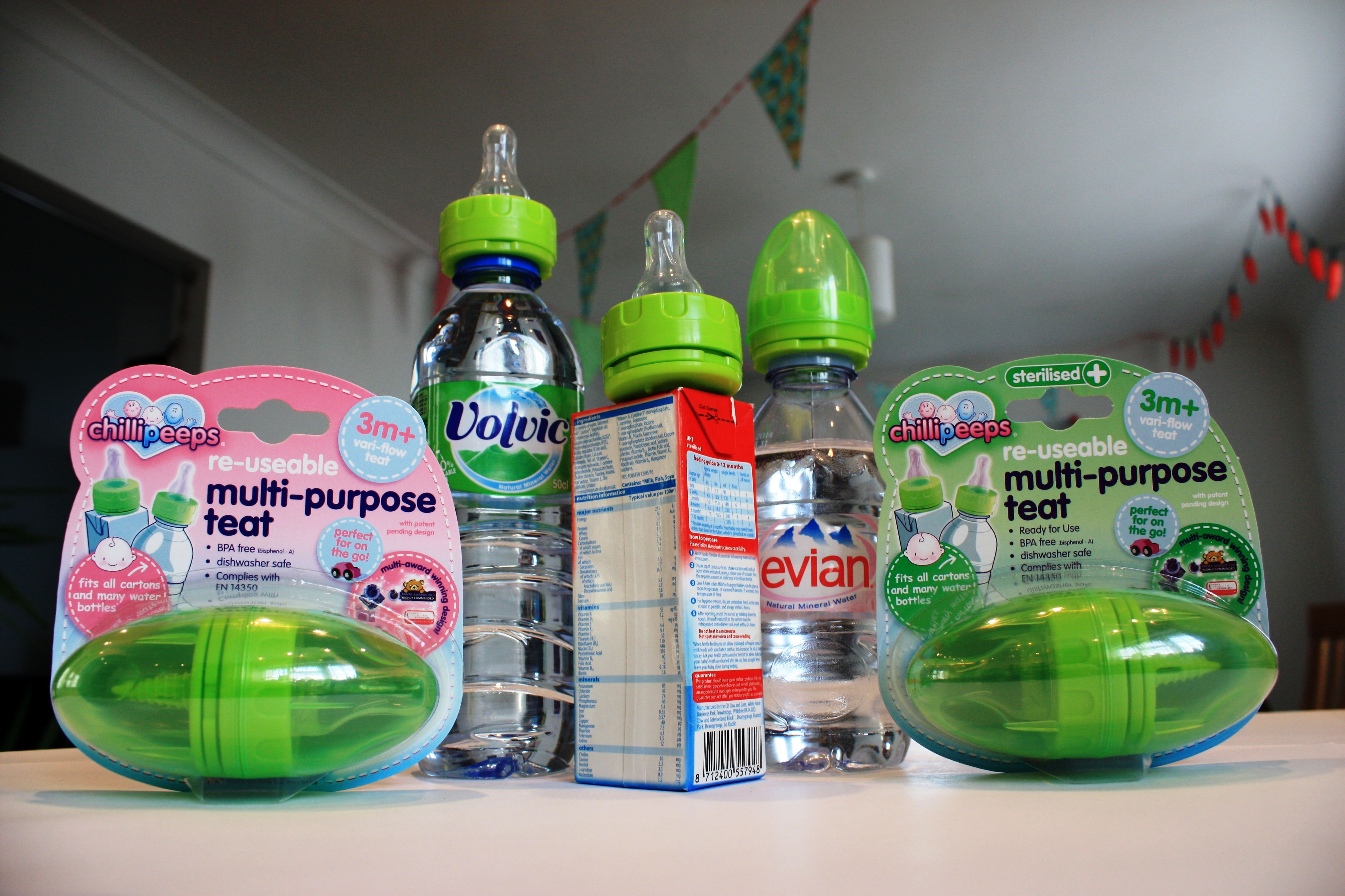 Chillipeeps Teats attach directly to formula cartons and Volvic and Evian water bottles perfect for
