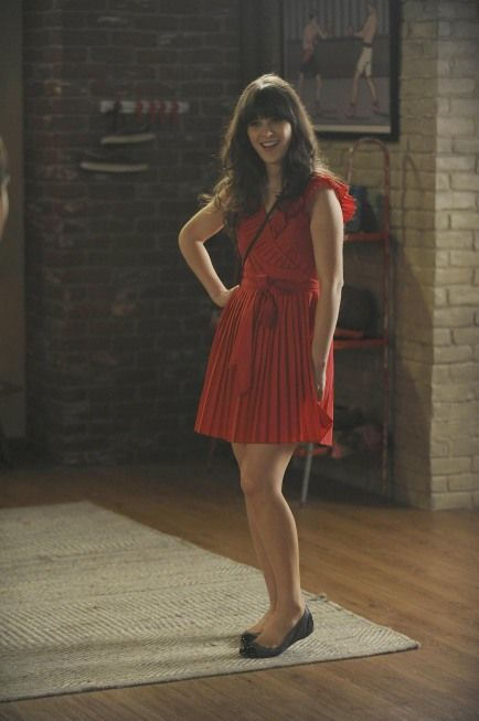 """Jess' (Zooey Deschanel) red dress from the """"Bad In Bed"""" episode of NEW GIRL on FOX."""