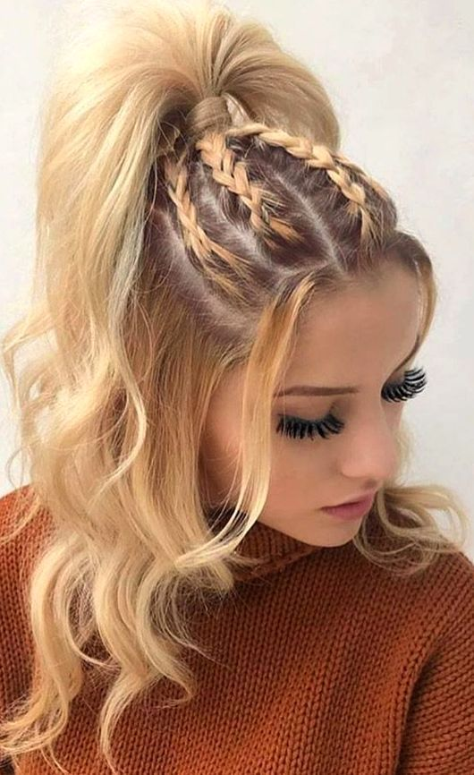 Easy Hairstyle Girls Girls Easy Hairstyle Cute Hairstyle Girls Quick Hairstyl Easy Hair In 2020 Cool Braid Hairstyles Braided Hairstyles Thick Hair Styles