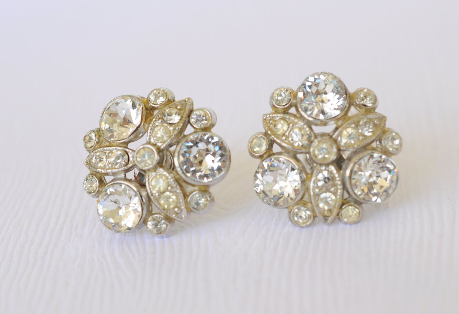 1930s vintage / NEMO rhinestone earrings // SPARKLE. $38.00, via Etsy.