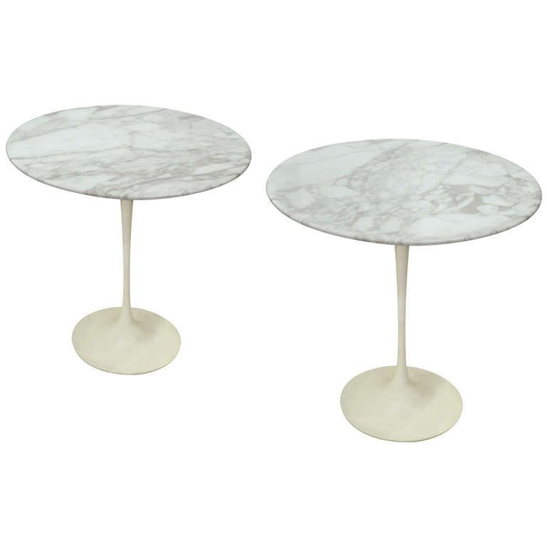 Pair Of Tulip Tables By Eero Saarinen Tulip Table Carrara Marble - Saarinen carrara marble table