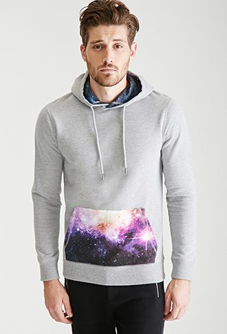 Galaxy Print Drawstring Hoodie 21 Men 2000084971 Drawstring