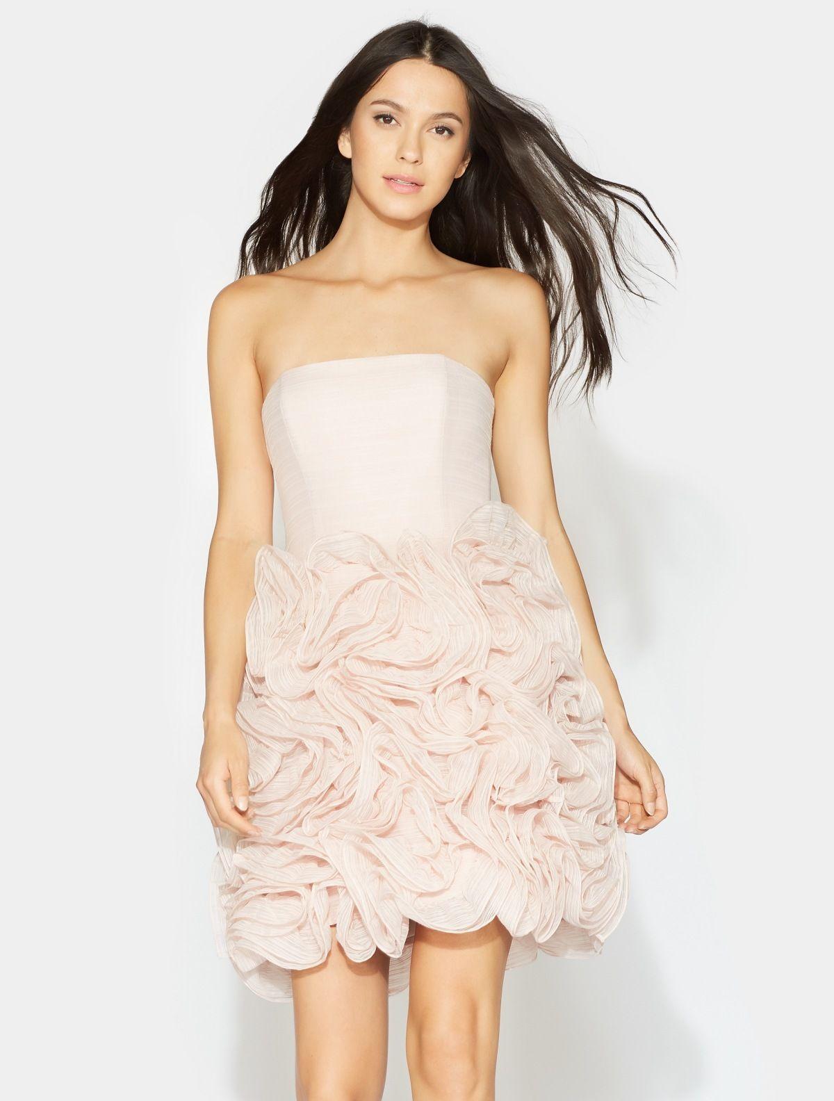Halston Strapless Ruffle Dress Strapless Ruffle Dress Prom Party Dresses Short Wedding Dress [ 1584 x 1200 Pixel ]