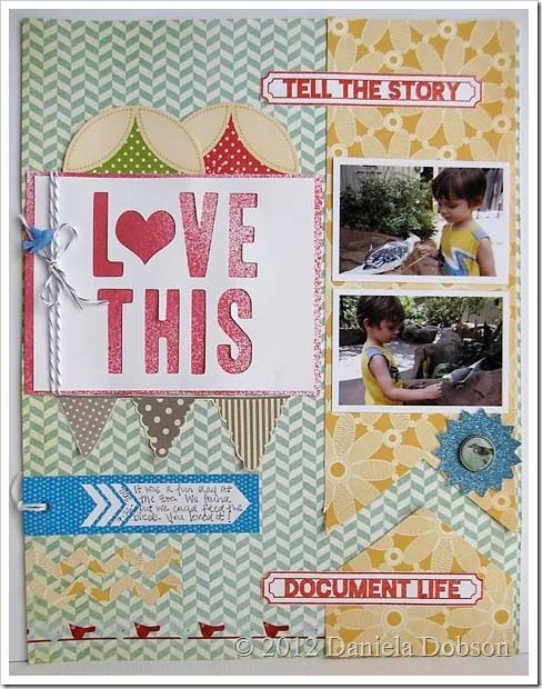 """Daniela's layout """"tells the story"""" and it is really nice. I like how she used the February Studio AE (Ali Edwards) stamp set. I also liked Daniela's description about how she used her die cutting machine to make the title. And she has a cute little sneak peek for the March Studio AE stamp set."""