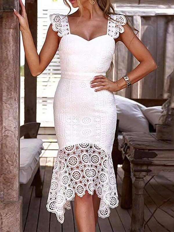 Sweet Off Shoulder Plain Lace Split Joint Evening Dress