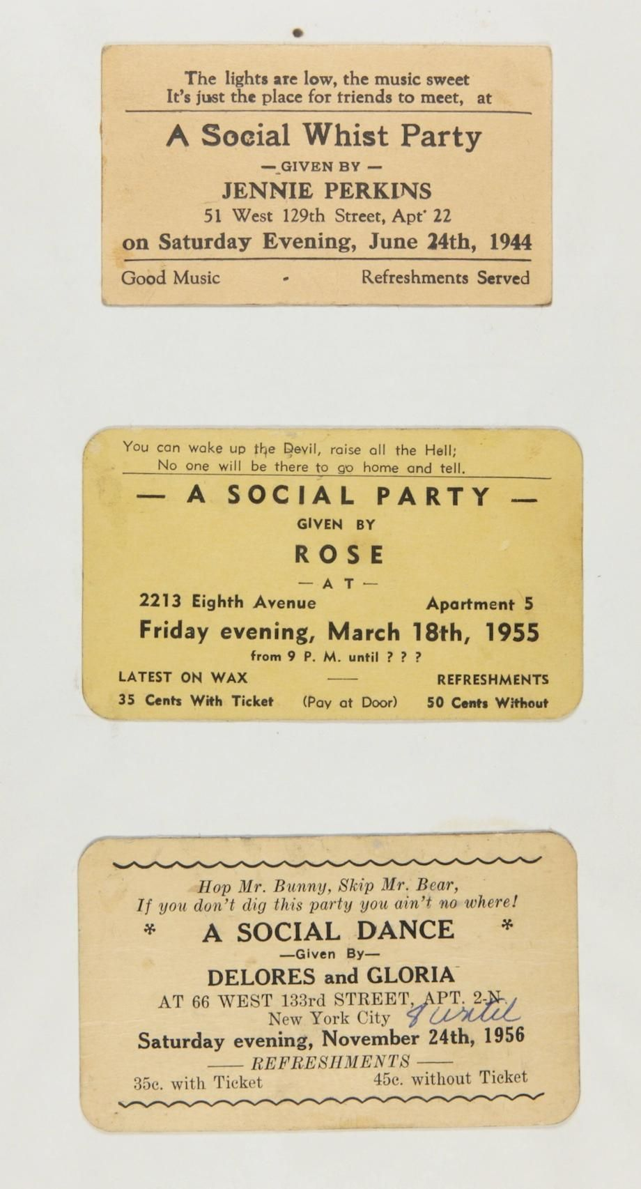 Langston Hughes' Collection of Harlem House Rent Party Cards