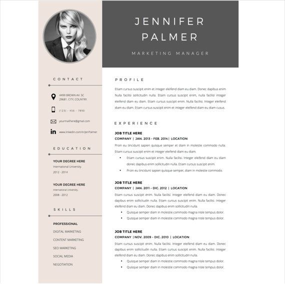 resume template and cover letter template for word by resumestudio - graphics