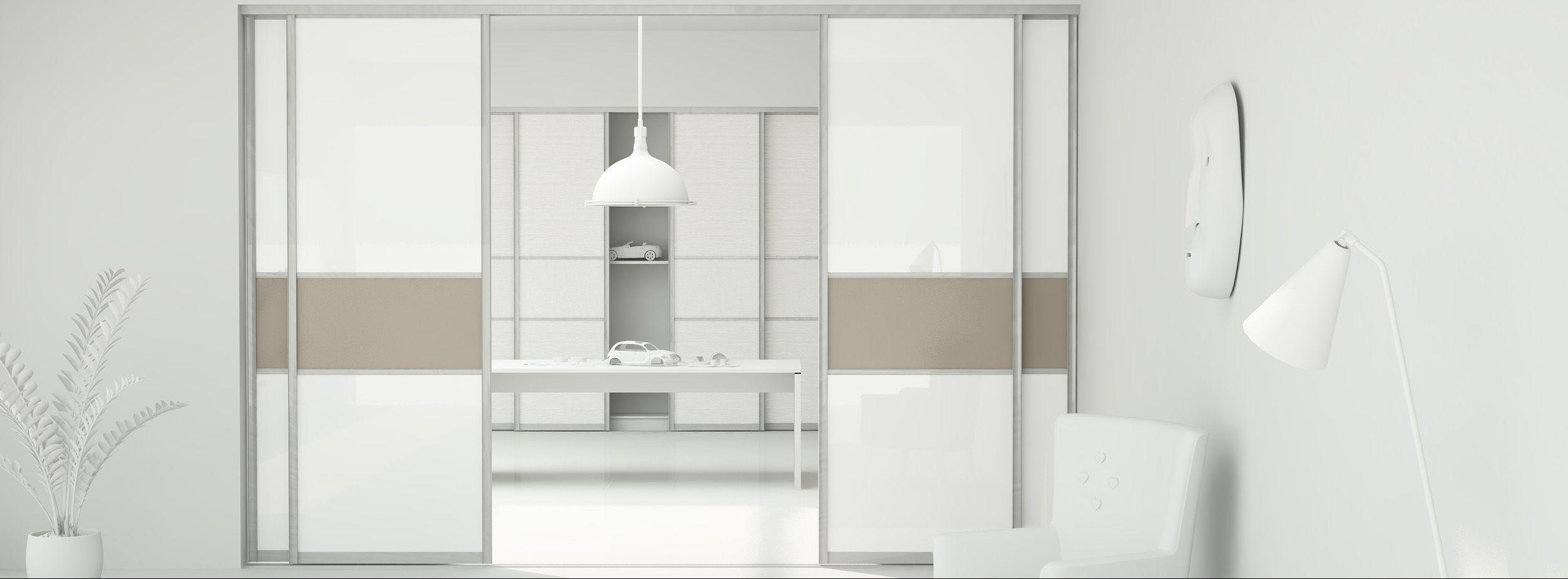 schiebet r als raumteiler aus glas mit sprosse in der. Black Bedroom Furniture Sets. Home Design Ideas