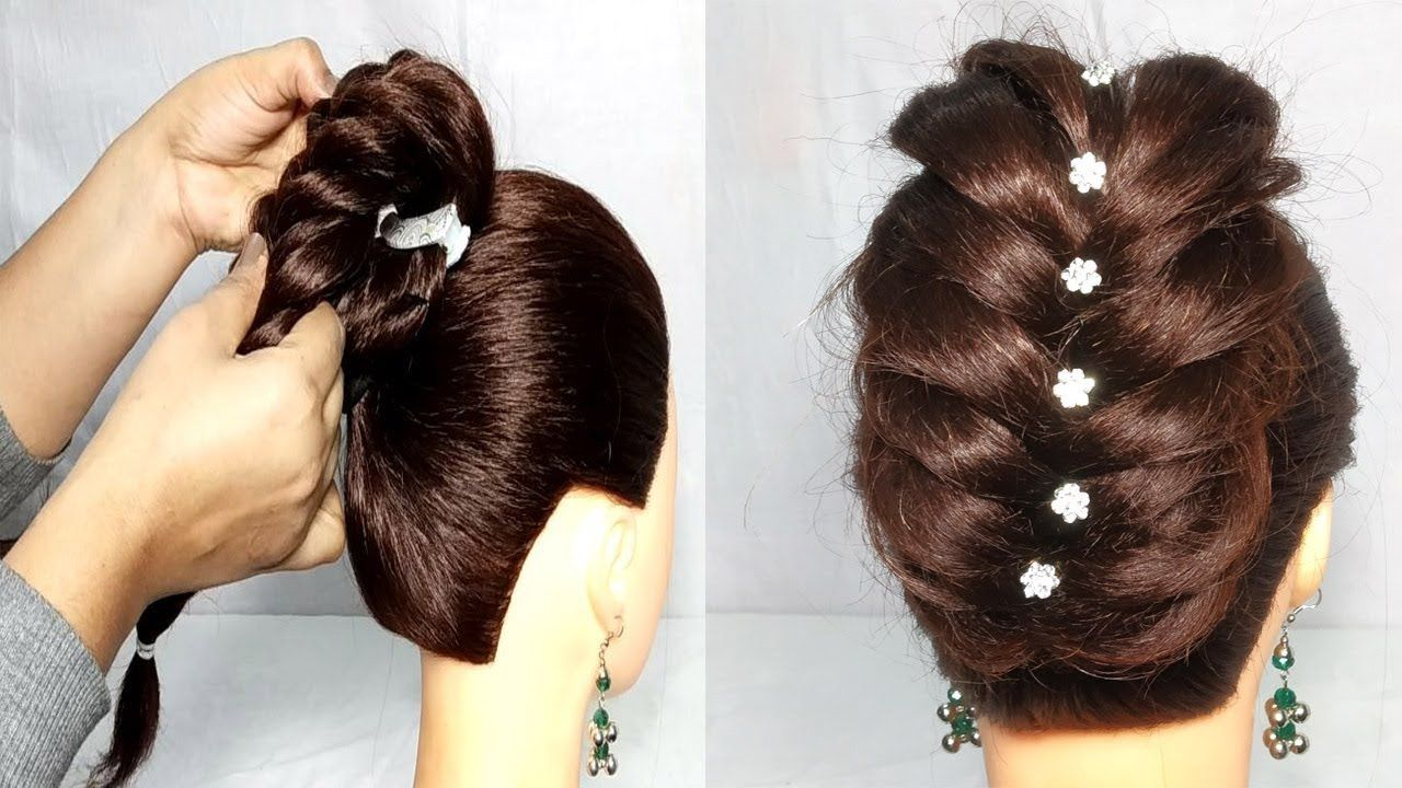 Easy Wedding Party Hairstyle With Banana Clip Hair Style Girl Wedding Hairstyle H Banana Clip Hairstyles Party Hairstyles Wedding Hairstyles For Girls
