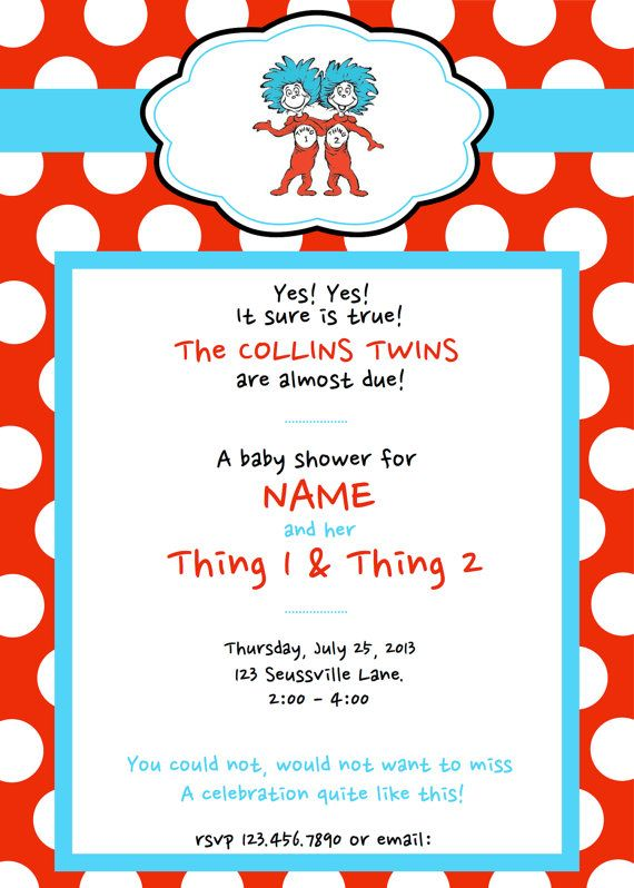 Dr Seuss Thing 1 2 Baby Shower Invitations By DarlingGem 1500 2nd