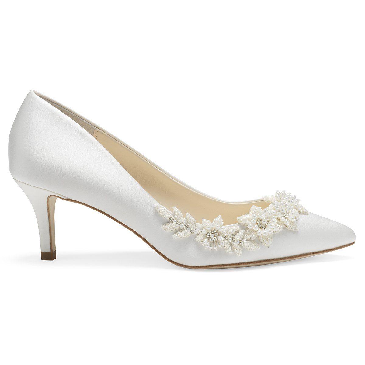 3d Floral Pearls And Beads Ivory Kitten Heels In 2020 Kitten Heels Wedding Bridal Shoes Low Heel Kitten Heel Wedding Shoes
