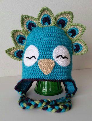 Crochet Peacock Bird Animal Hat