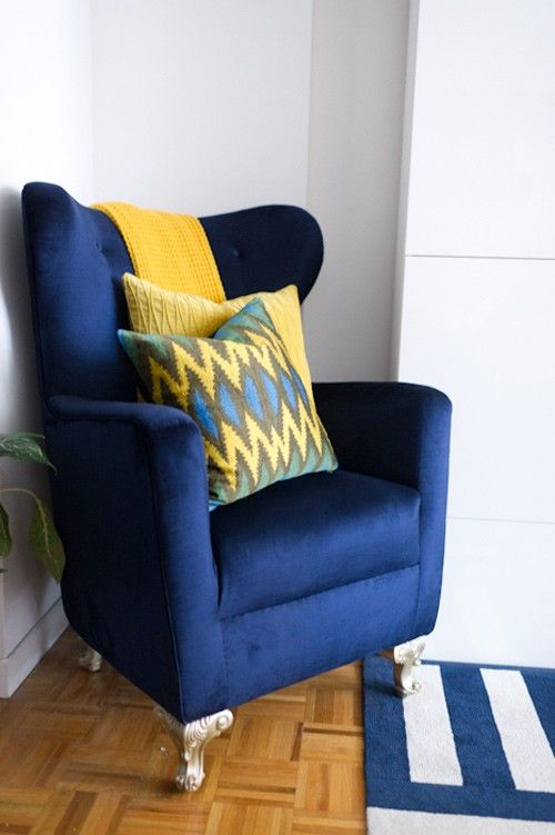 Blue wing back chair! Blue accent chairs, Yellow accent