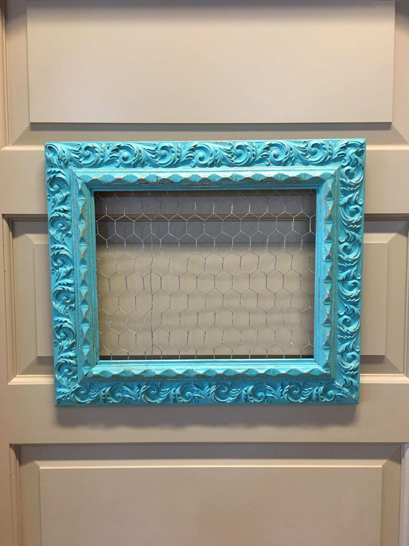 Distressed Aqua Ornate Wood Frame Chicken Wire Jewelry Display Memo ...
