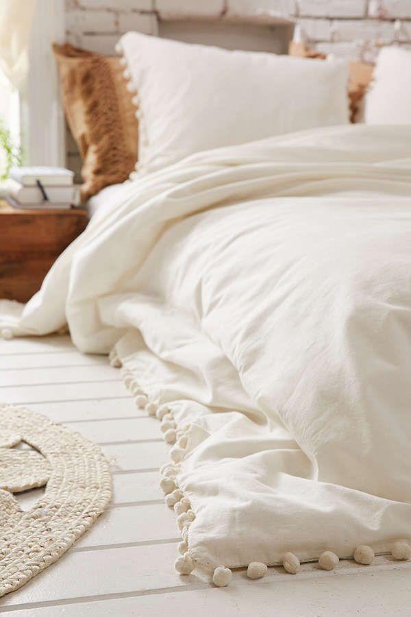 Magical Thinking Pom Fringe Duvet Cover Bedspreads Comforters Boho Bedding Gray Duvet Cover