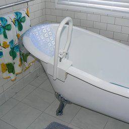 Carex White Bathtub Rail Clawfoot Tub Bathroom Accessible