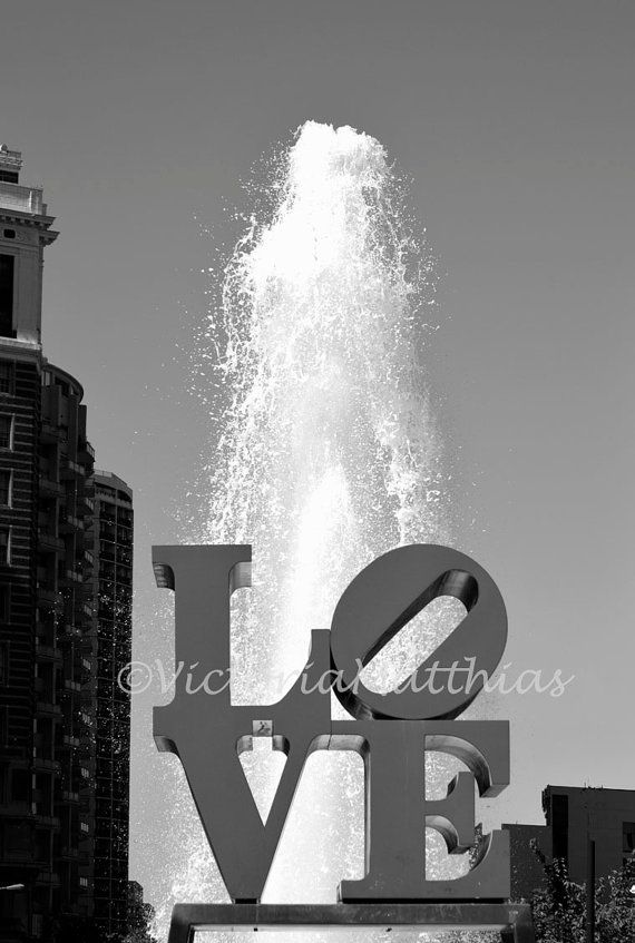 Philly Love Symbol Love Park Cityscape Fine Art Black And White