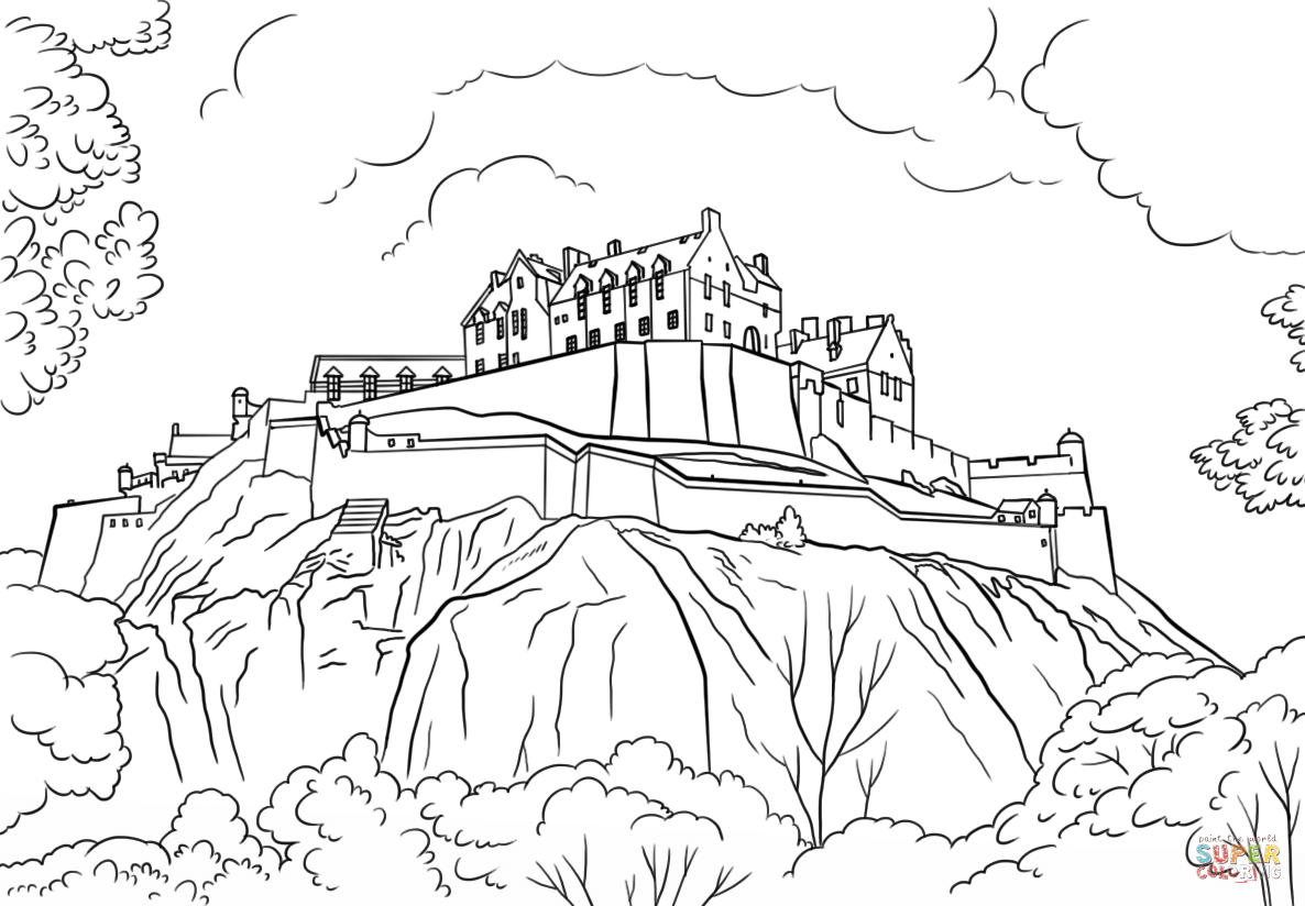 Edinburgh Castle coloring page from Scotland category. Select from ...
