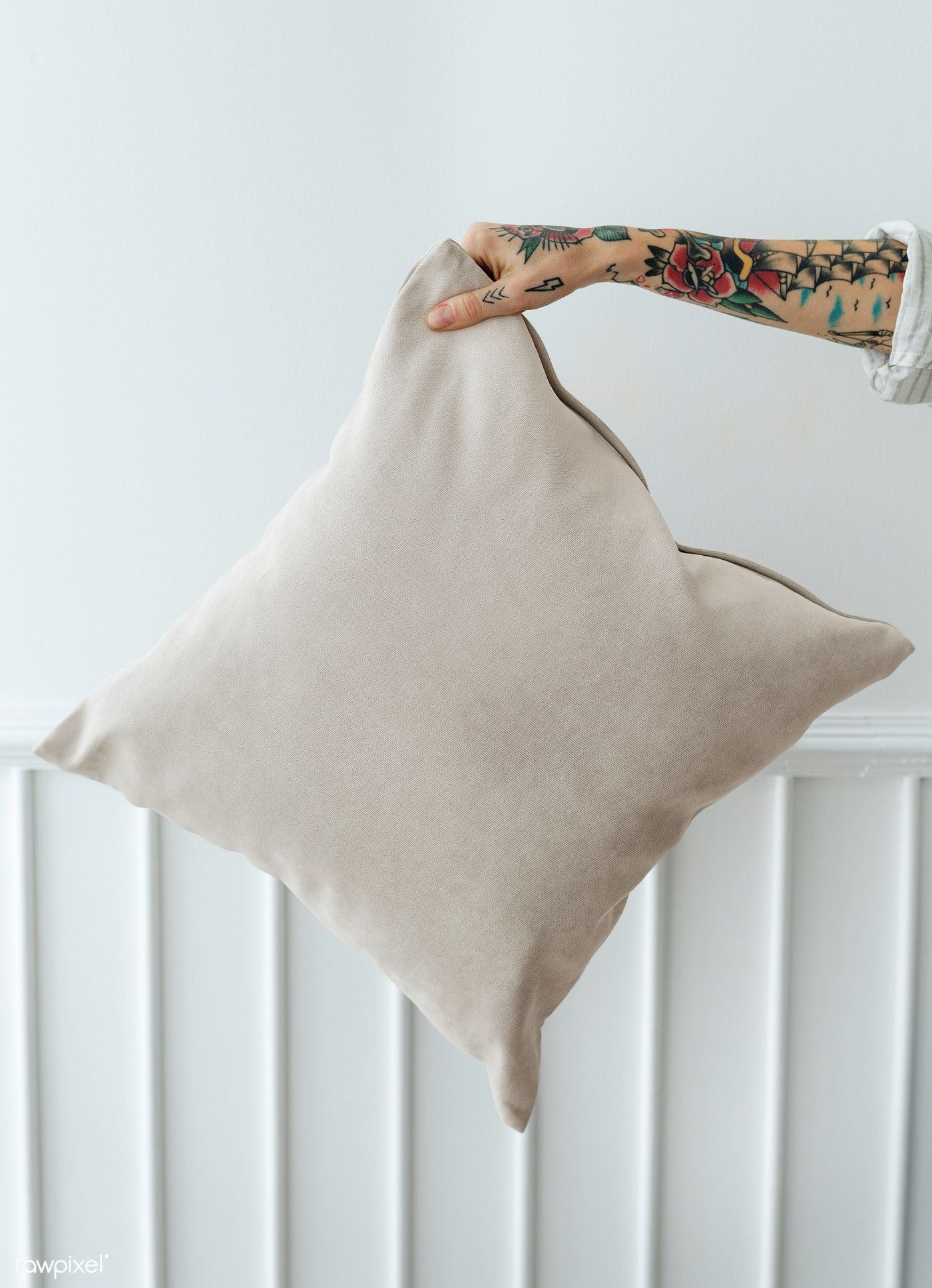 Download Premium Psd Of Tattooed Woman Holding A Cream Pillow Mockup Cream Pillows Design Mockup Free Pillows