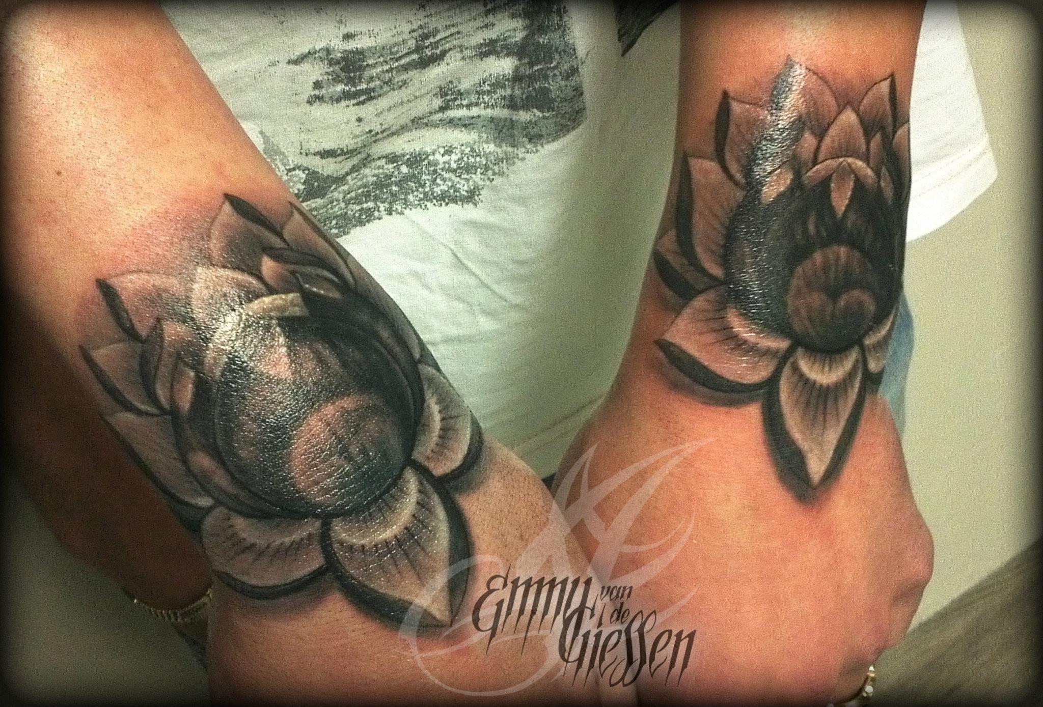 Black gray lotus flower tattoo emmy van de giessen http black and white flower tattoos dhlflorist Images