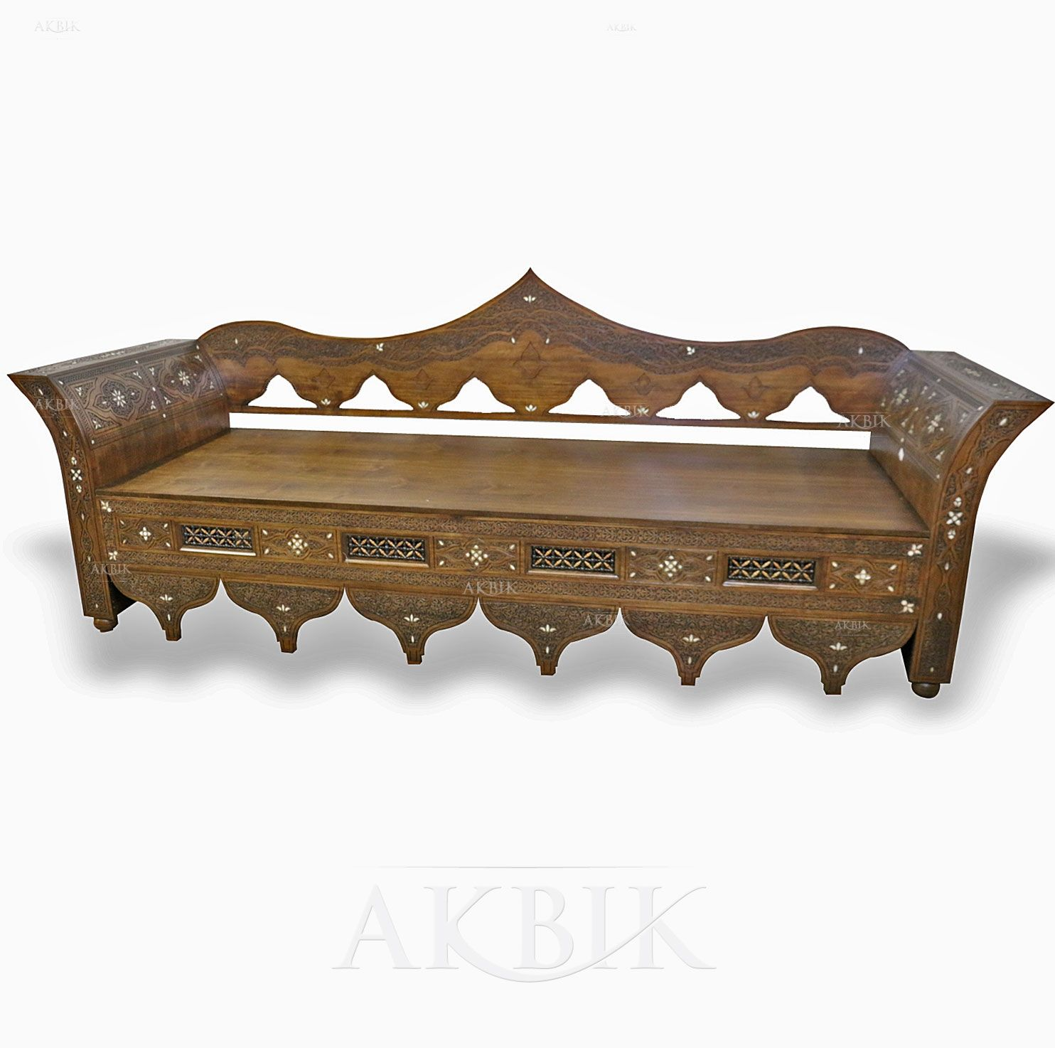 Mother Of Pearl Moroccan Syrian And Levantine Furniture Exotic Wooden Bench Hand Made In Damascus Syria