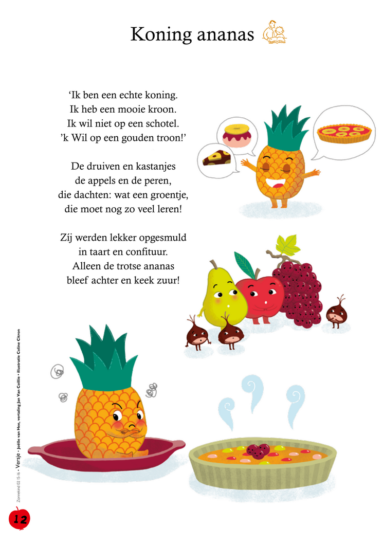 Hedendaags Thema gezonde voeding - fruit - Koning ananas - gedicht NR-36
