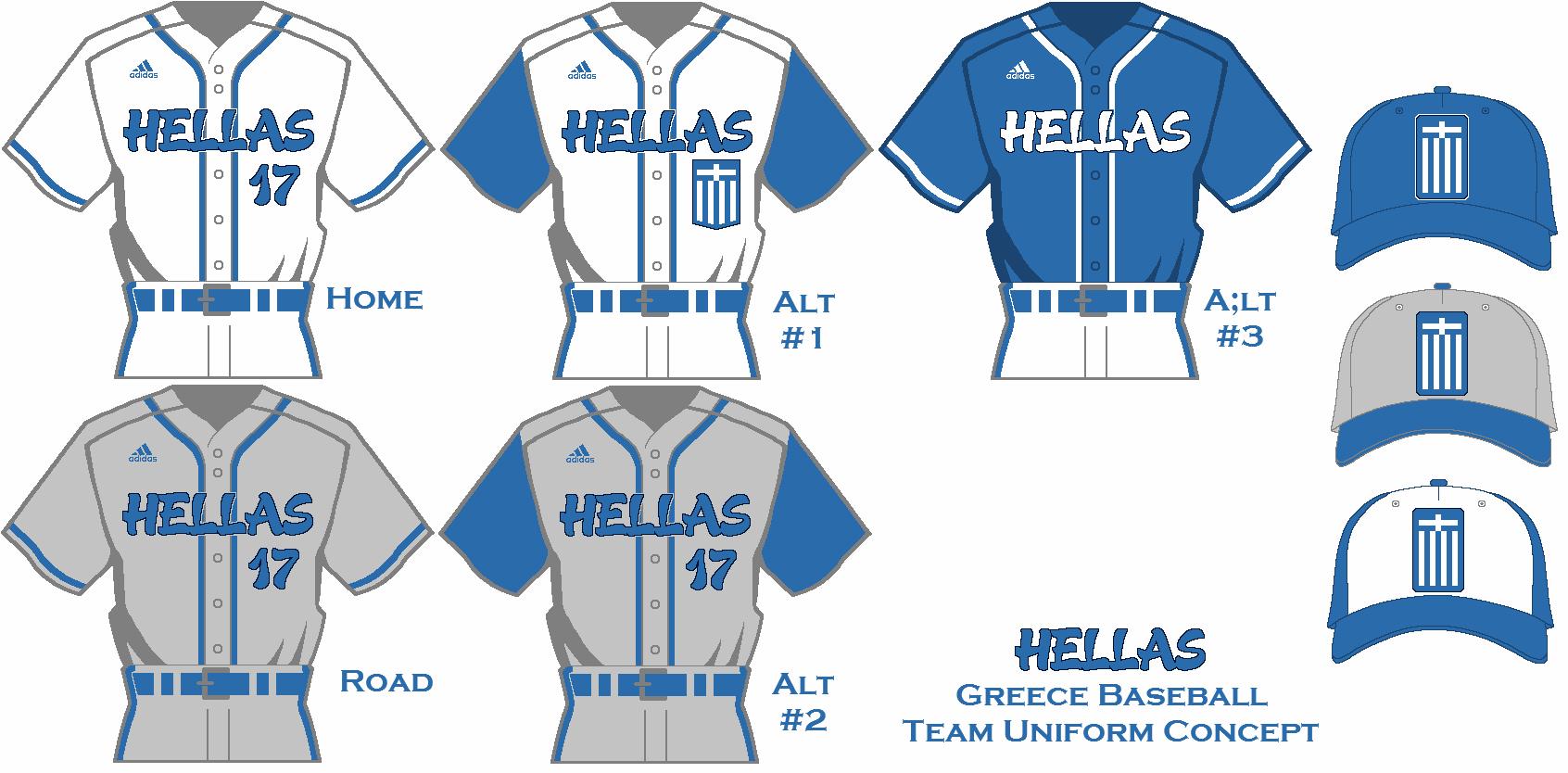 team greece baseball uniform set concept using a new template