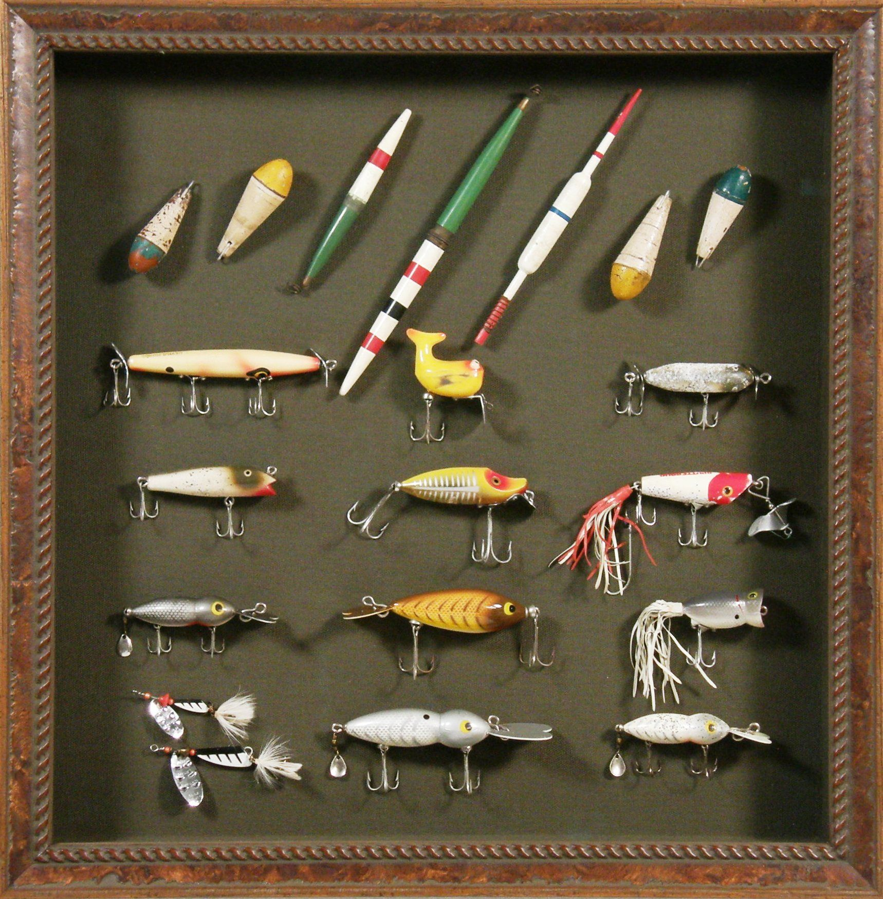 Bradley 39 s custom framed antique fishing lures find that for Fishing lure display