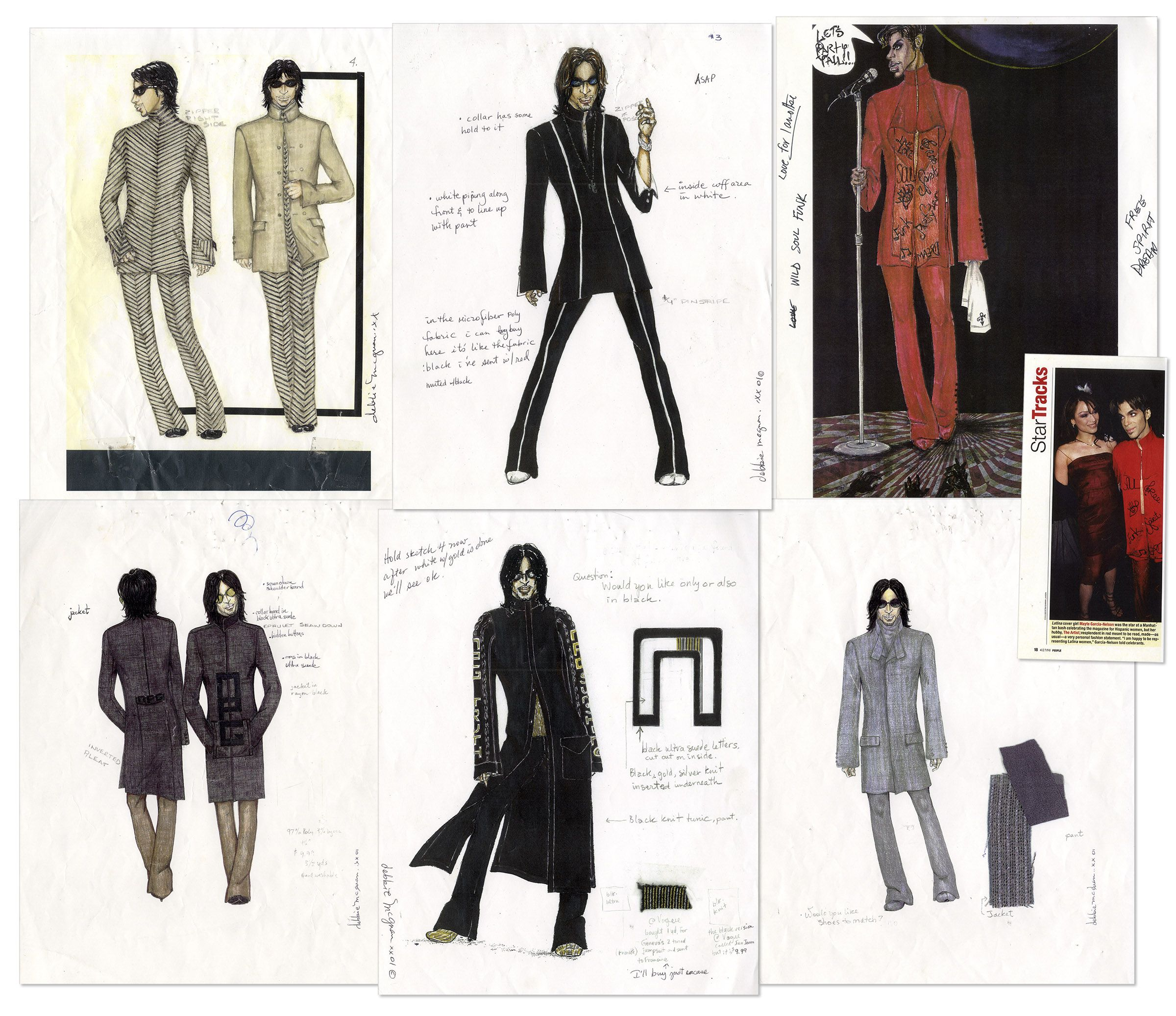Six fashion illustrations used to fabricate clothing for Prince. As stated in the LOA from Prince