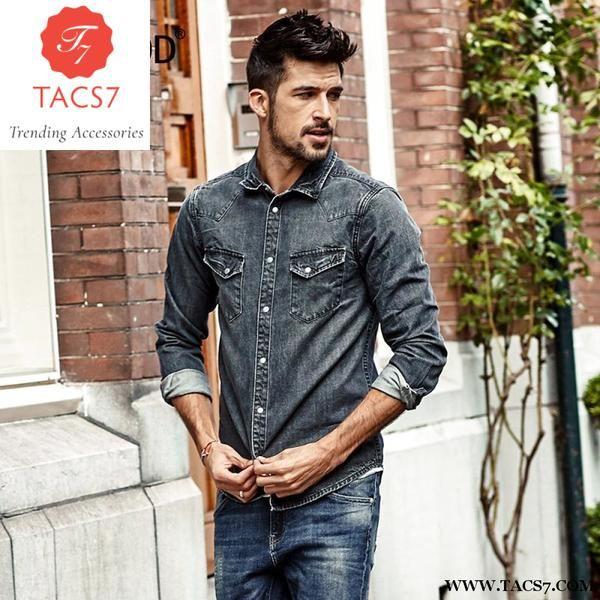 444b416796 Simwood 2018 Spring Denim Shirts Men Slim Fit Casual Cotton Shirt Long  Sleeve Vintage Pocket Brand