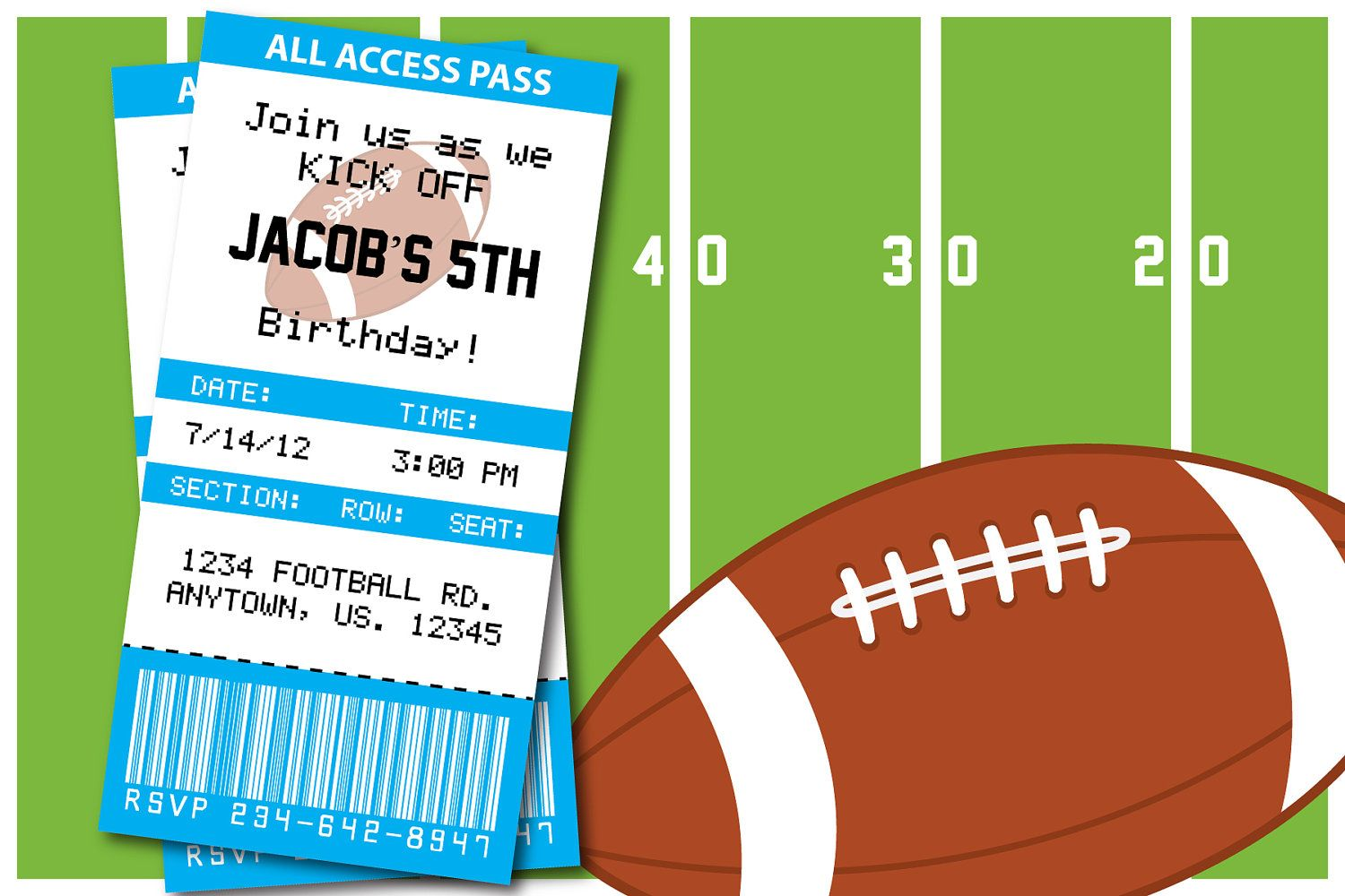 Football Themed Birthday Party Invitation, Thank you card, Baby ...