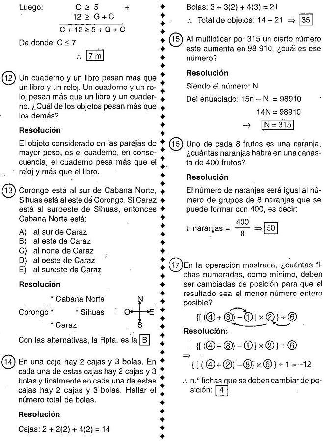 Problemas de Razonamiento Lógico Matemático - Preguntas de E xamenes ...
