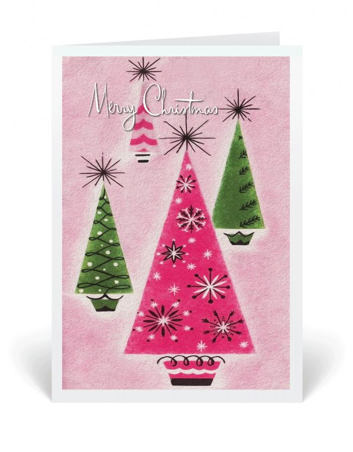 Mid century modern retro pink trees holiday card vintage christmas mid century modern retro pink trees holiday card vintage christmas greeting cards m4hsunfo